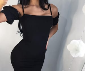 black dress, fashion style, and perfect goals image