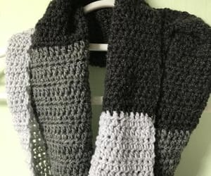 handmade scarf, crocheted scarf, and fringed scarf image