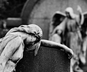 angel, black and white, and cemetery image
