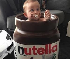 baby, chocolate, and nutella image
