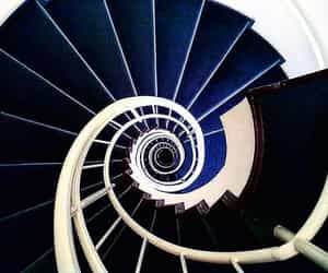 blue, stairs, and navy blue image