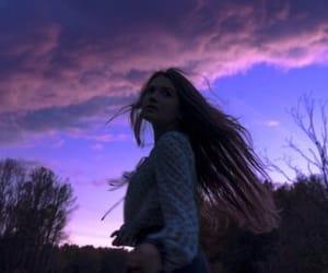 girl, purple, and sky image