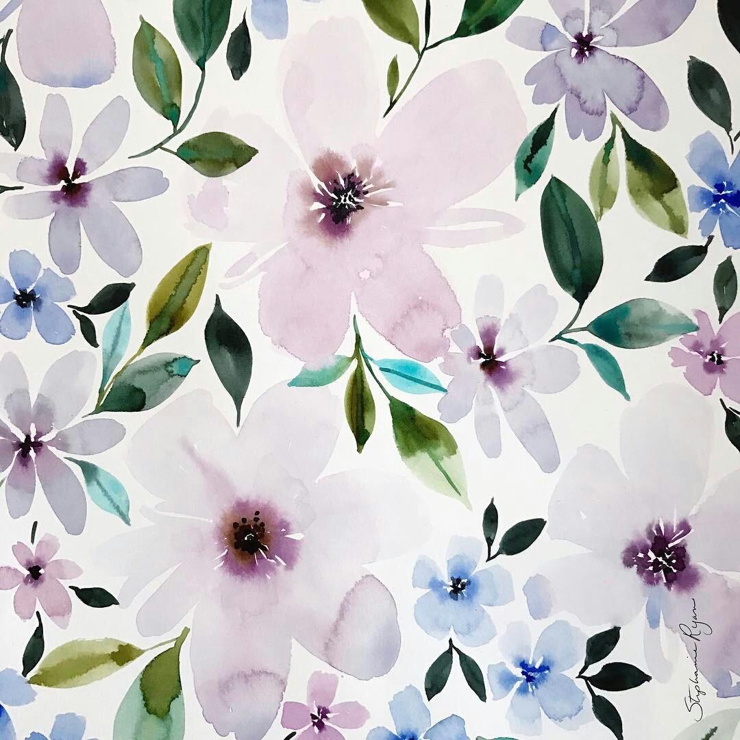Pretty Purple Pastel Floral Wallpaper On We Heart It