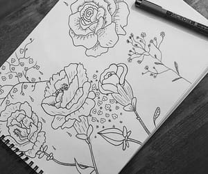 b&w, drawing, and flowers image