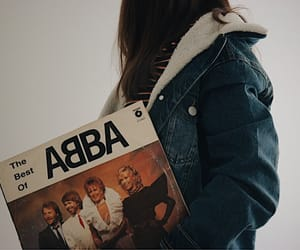 Abba, denim jacket, and music image