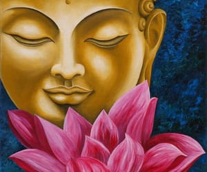 Buddha, lotus, and face chakra image