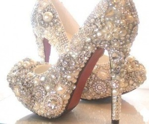 shoes, heels, and pearls image