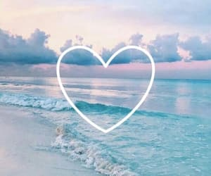 wallpaper, heart, and beach image
