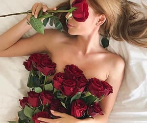 rose, girl, and red image