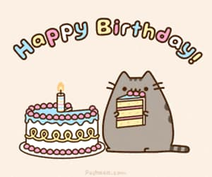 cat, happy birthday, and cake image