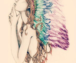 colors, feathers, and girl image