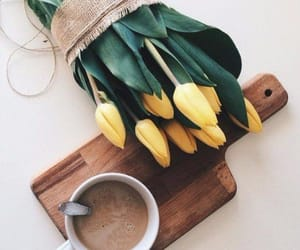 coffee, tulips, and flowers image