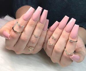 acrylics, pink nails, and beauty image