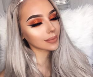 beautiful, blonde hair, and makeup image