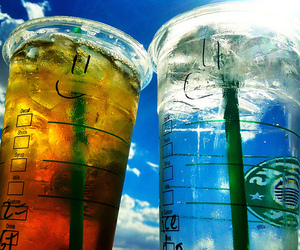 ice, sky, and starbucks image
