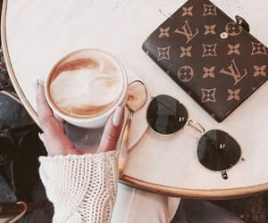 coffee, Louis Vuitton, and sunglasses image