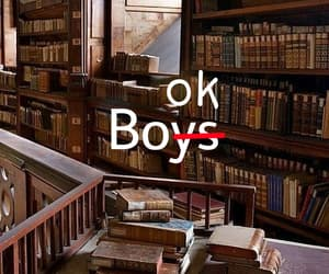 books, boys, and library image