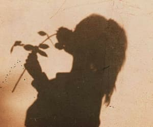 girl, shadow, and rose image