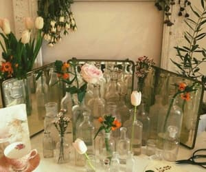 flowers, glass, and mirror image