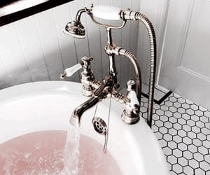 bath, pink, and bathroom image