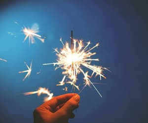 fireworks, blue, and hand image