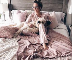 bedroom, dog, and girl image