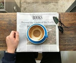 coffee, book, and newspaper image