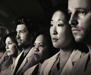 grey's anatomy, black and white, and series image