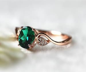 emerald, engagement, and gold image