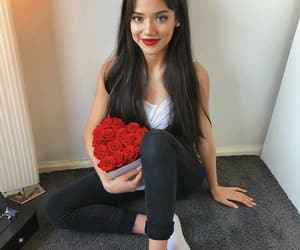 hair, roses, and red image