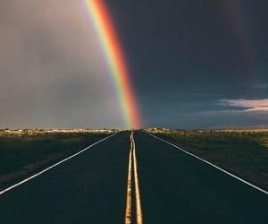 rainbow, road, and sky image