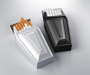 cigarette, black and white, and smoke image