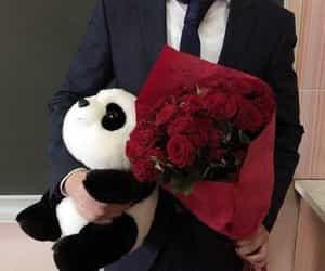 boy, flowers, and panda image