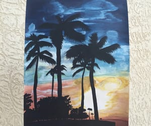 art, clouds, and palm image