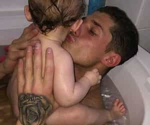 baby, kiss, and bath image