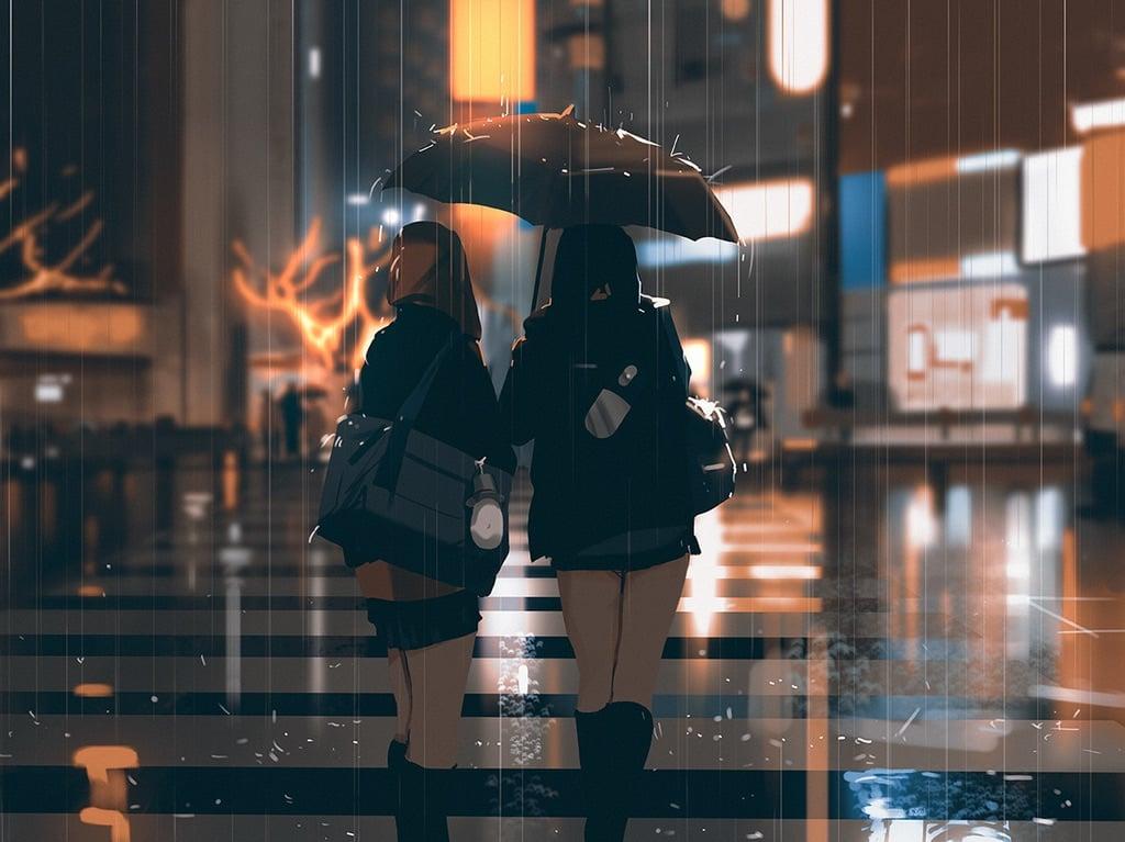 girl, rain, and anime image