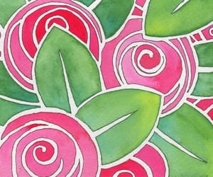 pink, watercolor, and camellias image