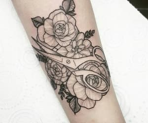 black, flower, and ink image