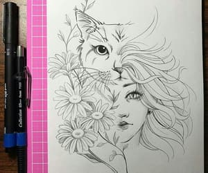 cat, flowers, and illustration image