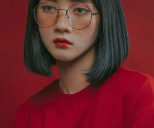 red, asian, and glasses image