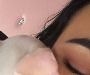 asleep, black hair, and eye image