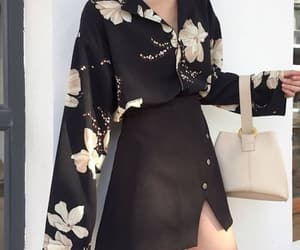 asian fashion, clothes, and flowers image