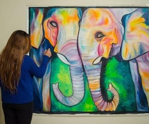 paintings and elephant love painting image