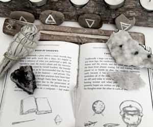 book, cauldron, and crystal image