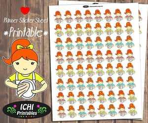 etsy, printable stickers, and redhead girl image