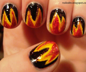 fire, nail art, and hunger games image