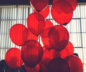 red, aesthetic, and balloons image