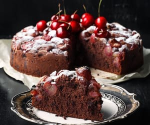 cake, cherries, and chocolate image