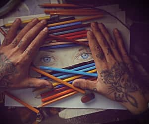 art, coloured pencil, and eyes image