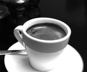 black and white, coffee, and morning image